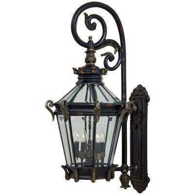 Stratford Hall 5-Light Heritage with Gold Highlights Outdoor Wall Lantern Sconce