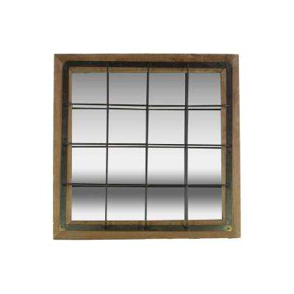 Square Brown Natural Wood Wall Mirror