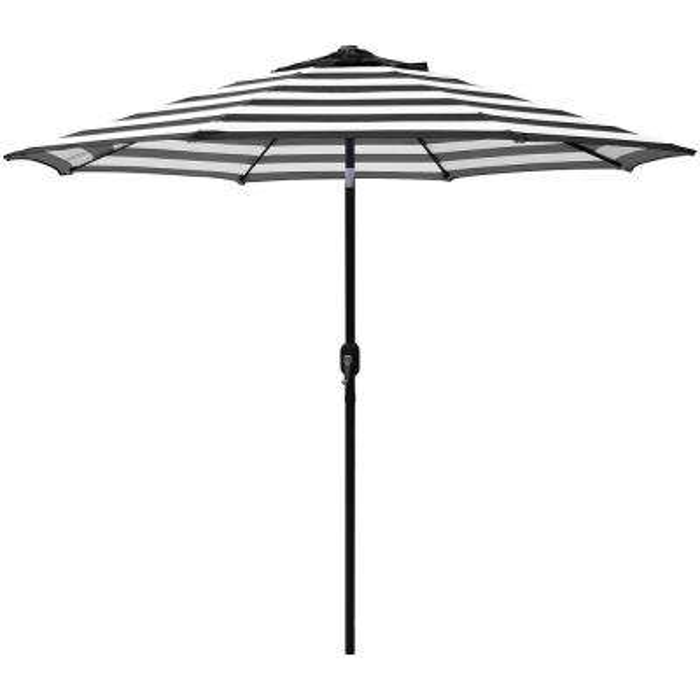 Steel Crank And Tilt Stripe Market Patio Umbrella In Black White