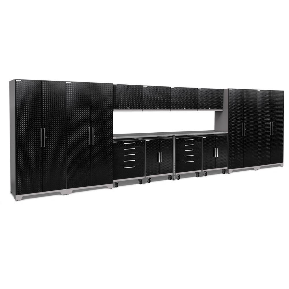 Performance Plus 2.0 Diamond Plate 85.25 in. H x 266 in. W x 24 in. D Steel Garage Cabinet Set in Black (17-Piece)