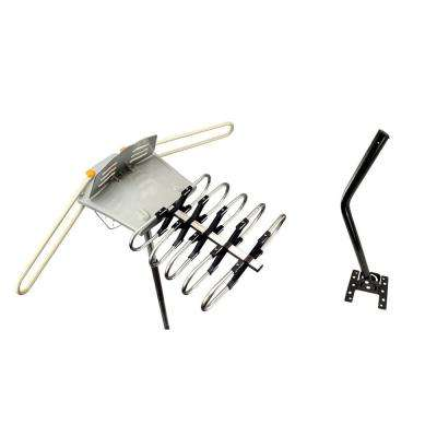 Amplified Outdoor Remote Controlled HDTV Antenna UHF VHF FM Radio 360° Rotation Kit 75 ft.