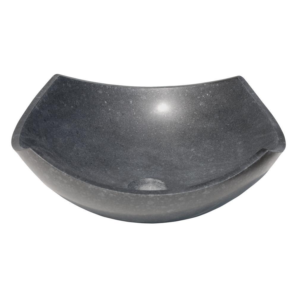 Arched Edges Bowl Vessel Sink in Honed Black Basalt