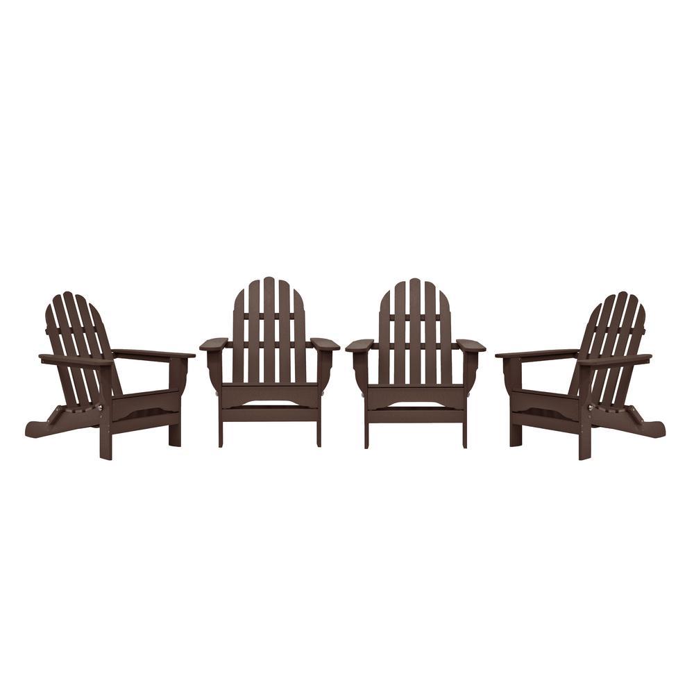 Icon Chocolate 4-Piece Plastic Adirondack Patio Seating Set