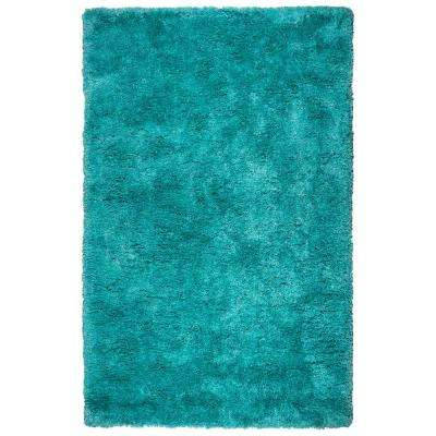 Commons Teal Polyester Shag 5 ft. x 8 ft. Area Rug