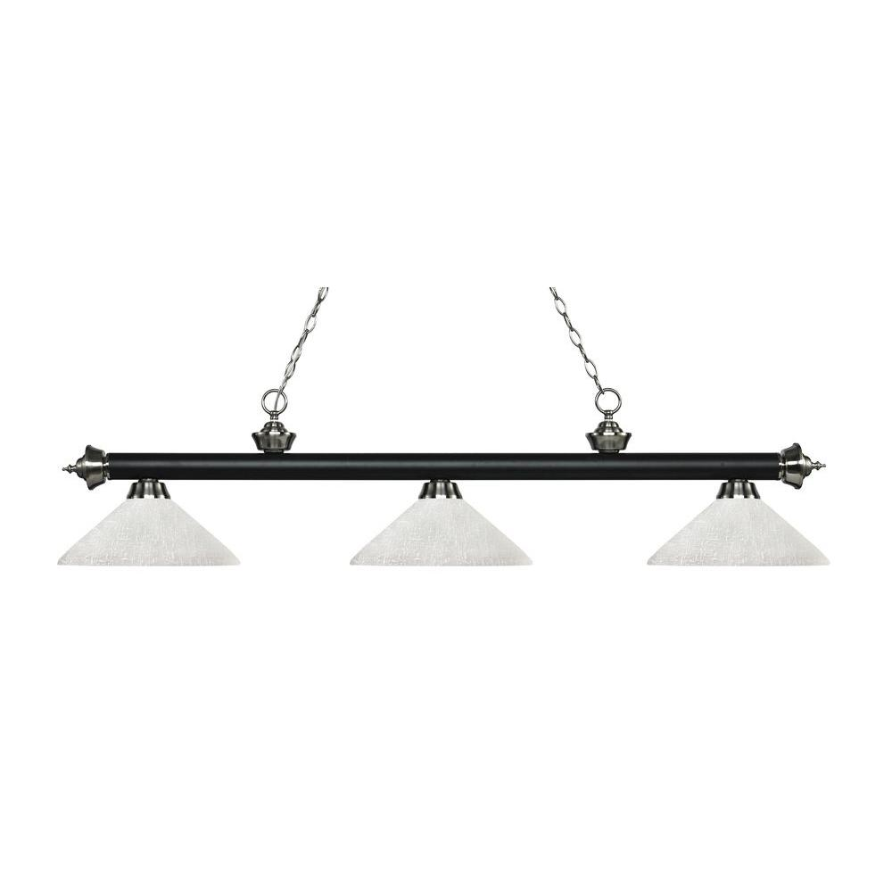 Lada 3-Light Matte Black and Brushed Nickel Island Light with White