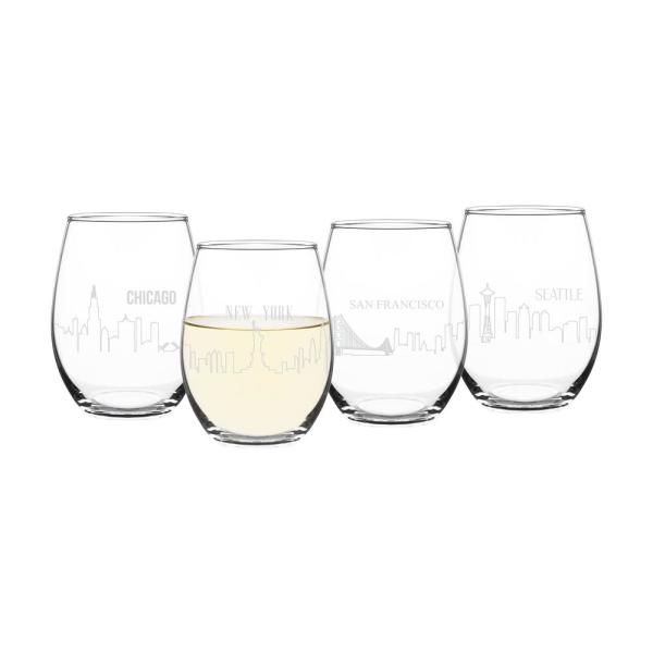 Cathy's Concepts American Cityscapes 21 oz. Stemless Wine Glasses (4-Pack)
