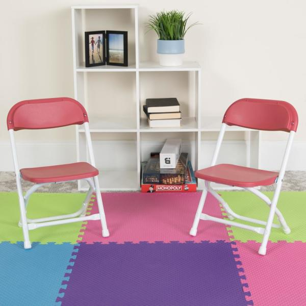 Carnegy Avenue Kids Burgundy Plastic Folding Chair