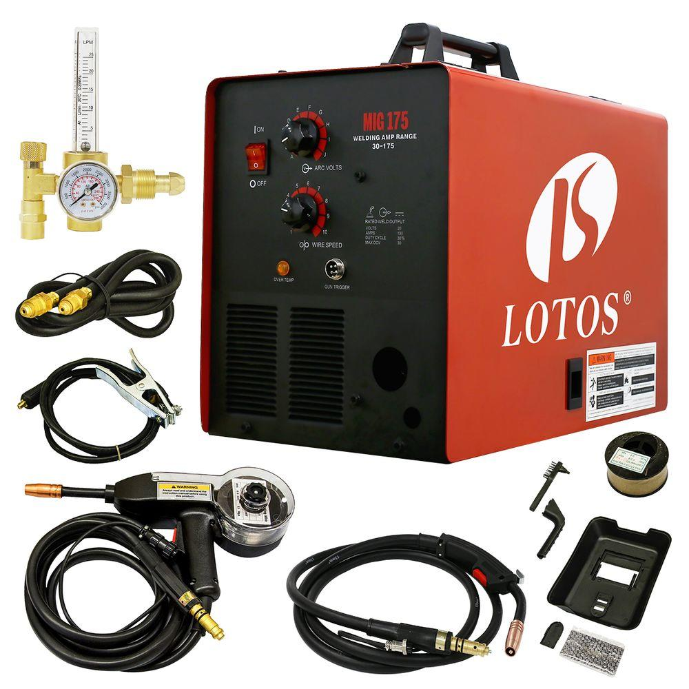 Lotos 175 Amp MIG Wire Feed Welder, Flux Core Welder and Aluminum ...