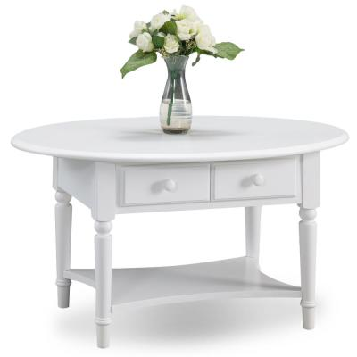 Coastal Notions 19 in. Orchid White Oval Coffee Table with Shelf