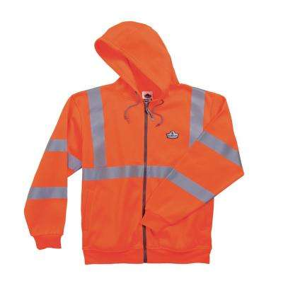 X-Large Hi Vis Orange Zipper Hooded Sweatshirt