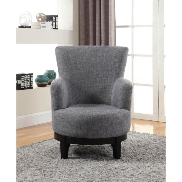 Grey Swivel Accent Chair 90019 27gy The Home Depot