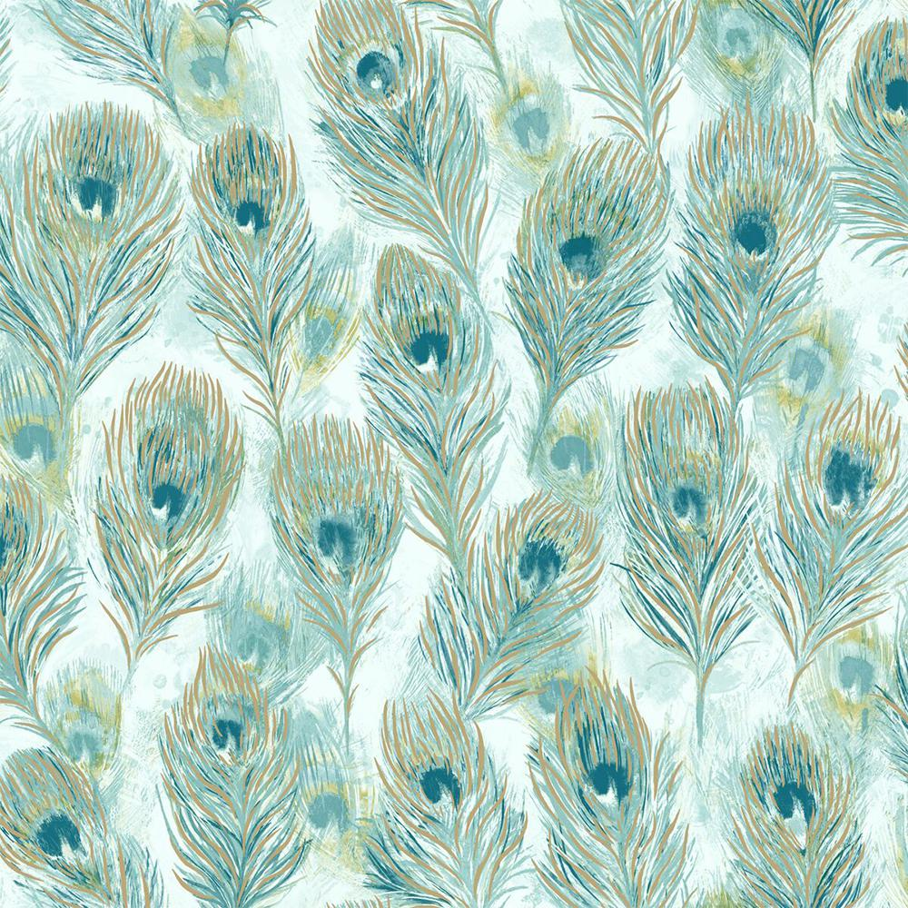 Walls Republic Peacock Feathers Paper Strippable Wallpaper Covers 57 Sq Ft R6096 The Home Depot