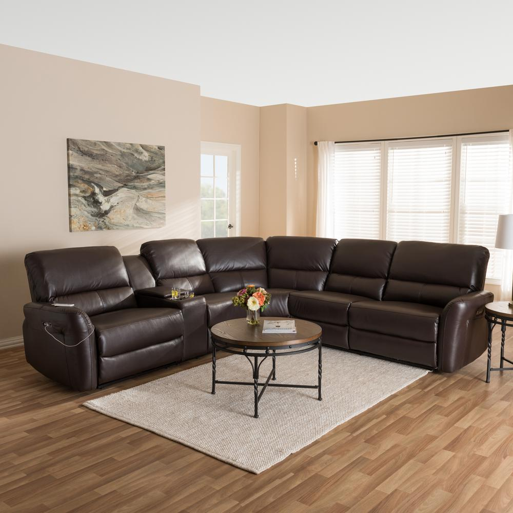 Baxton Studio Amaris 5 Piece Dark Brown Leather Reclining Sectional