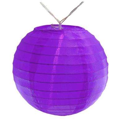 Battery Operated Purple String Light with 6 in. Nylon Lanterns (10-Count)
