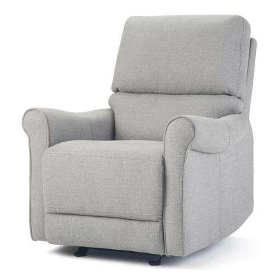Garrison 33 in. Wide Traditional Glider Recliner in Light Smoke Grey Linen Look Fabric
