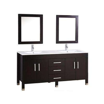 Monaco 84 in. W x 22 in. D x 36 in. H Vanity in Espresso with Microstone Vanity Top in White, White Basins and Mirrors