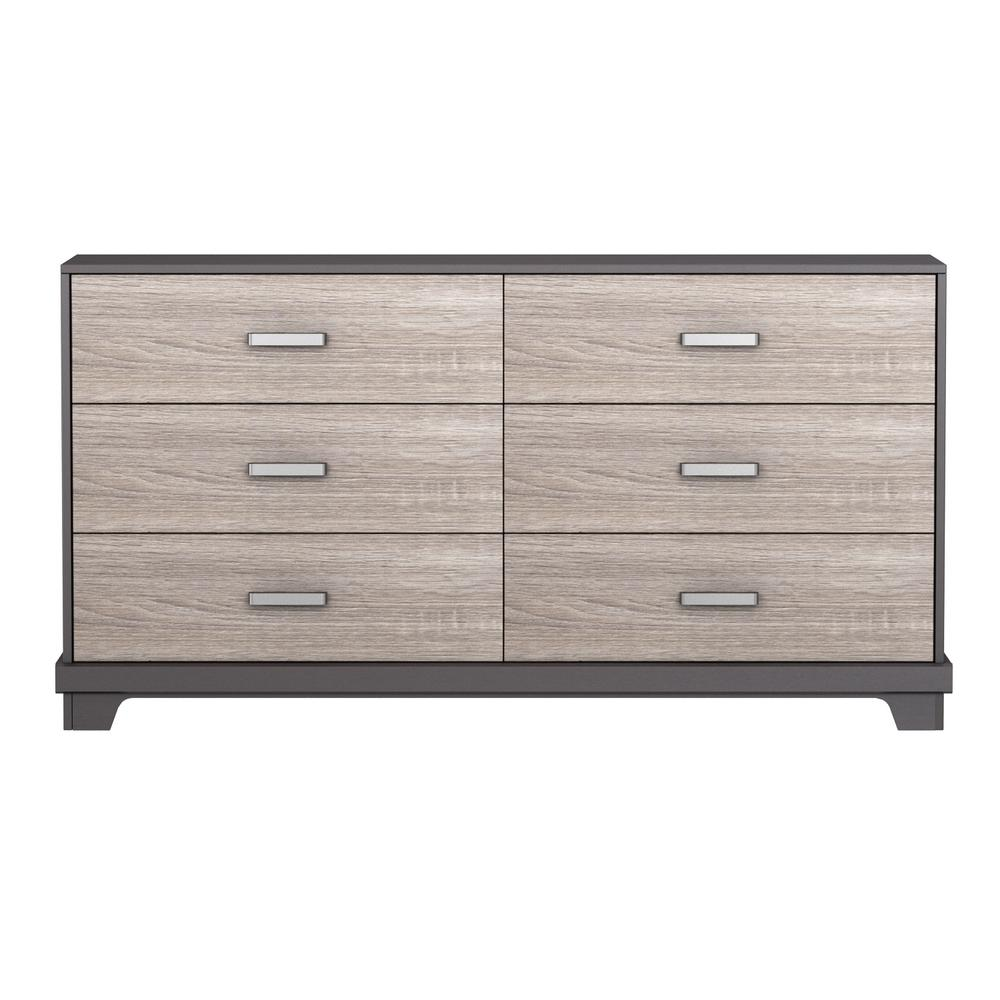 Manhattan 6-Drawer Dresser Java Brown with Sonoma