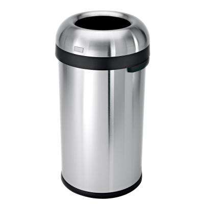 "60-Liter Heavy-Gauge Brushed Stainless Steel ""Bullet"" Round Open Top Trash Can"