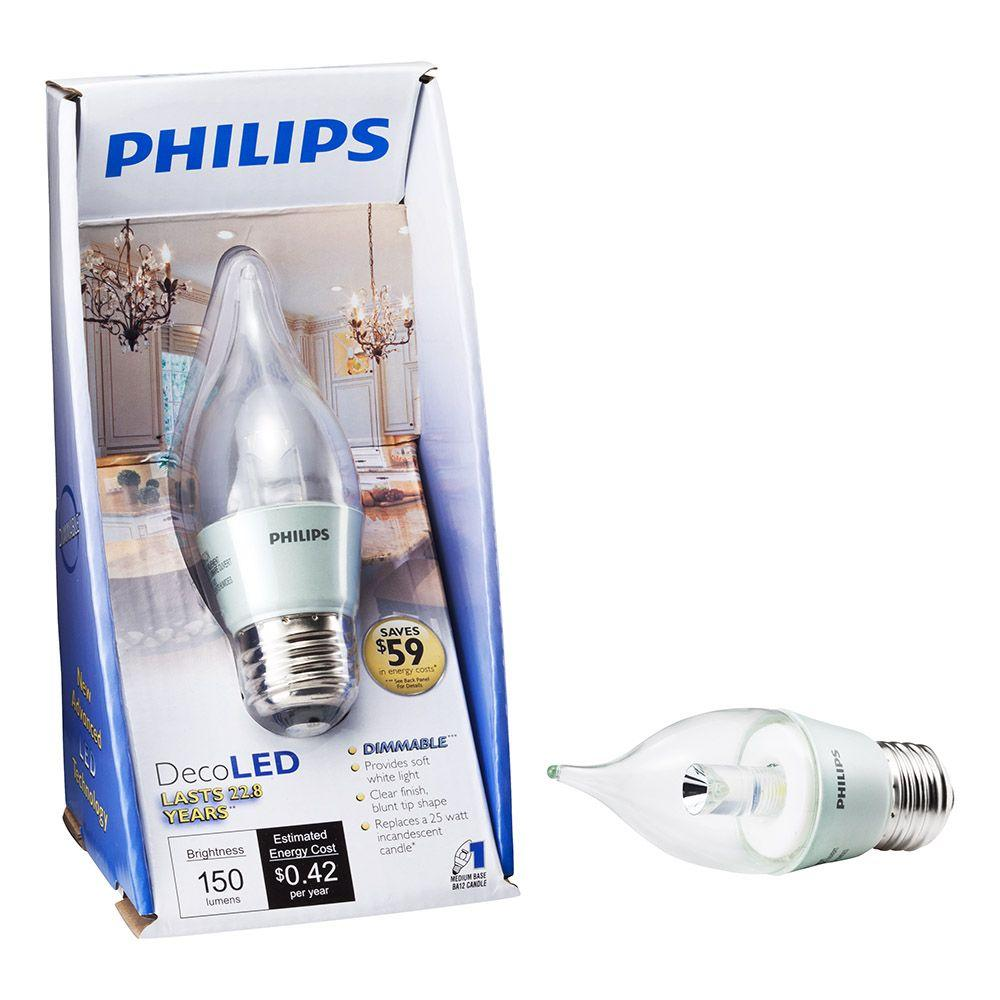 Philips 3.5-Watt (25W) Bent Tip Deco Medium Base SoftWhite (2700K) LED Light Bulb