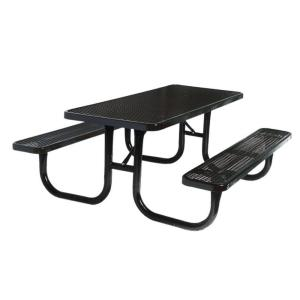 Ultra Play 8 ft. Diamond Black Commercial Park Portable Rectangular Table by