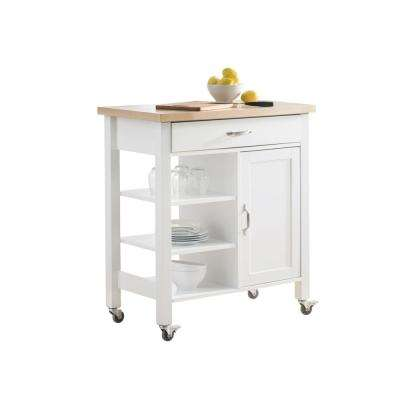 Nice Greenwich White Body With Wood Top Kitchen Cart With 1 Drawer 1 Cabinet And  3 Shelves