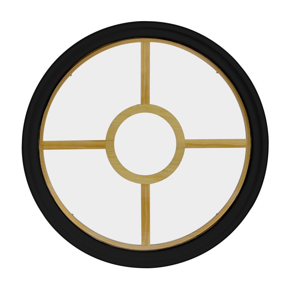 18 in. x 18 in. Round Black 6-9/16 in. Jamb 3-1/2 in. Interior Trim 5-Lite Grille Geometric Aluminum Clad Wood Window
