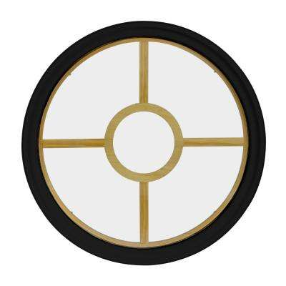 36 in. x 36 in. Round Black 4-9/16 in. Jamb 5-Lite Grille Geometric Aluminum Clad Wood Window