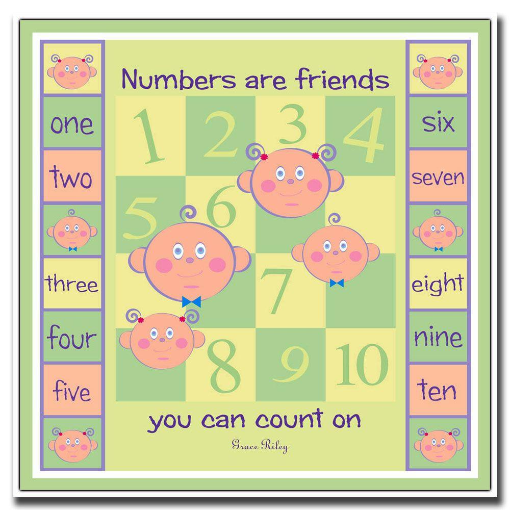 24 in. x 24 in. Numbers are Friends Canvas Art