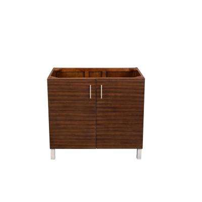 Metropolitan 36 in. W x 33 in. H Single Bath Vanity Cabinet Only in American Walnut with Chrome Hardware