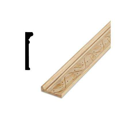 DM 212 7/8 in. x 2-1/8 in. x 96 in. Solid Pine Wood Chair Rail with Embossed Ivy Leaf Design