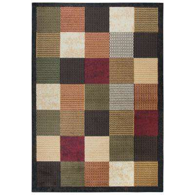 Xceed Black Plaid Machine Made 5 ft. 2 in. x 7 ft. 3 in. Area Rug