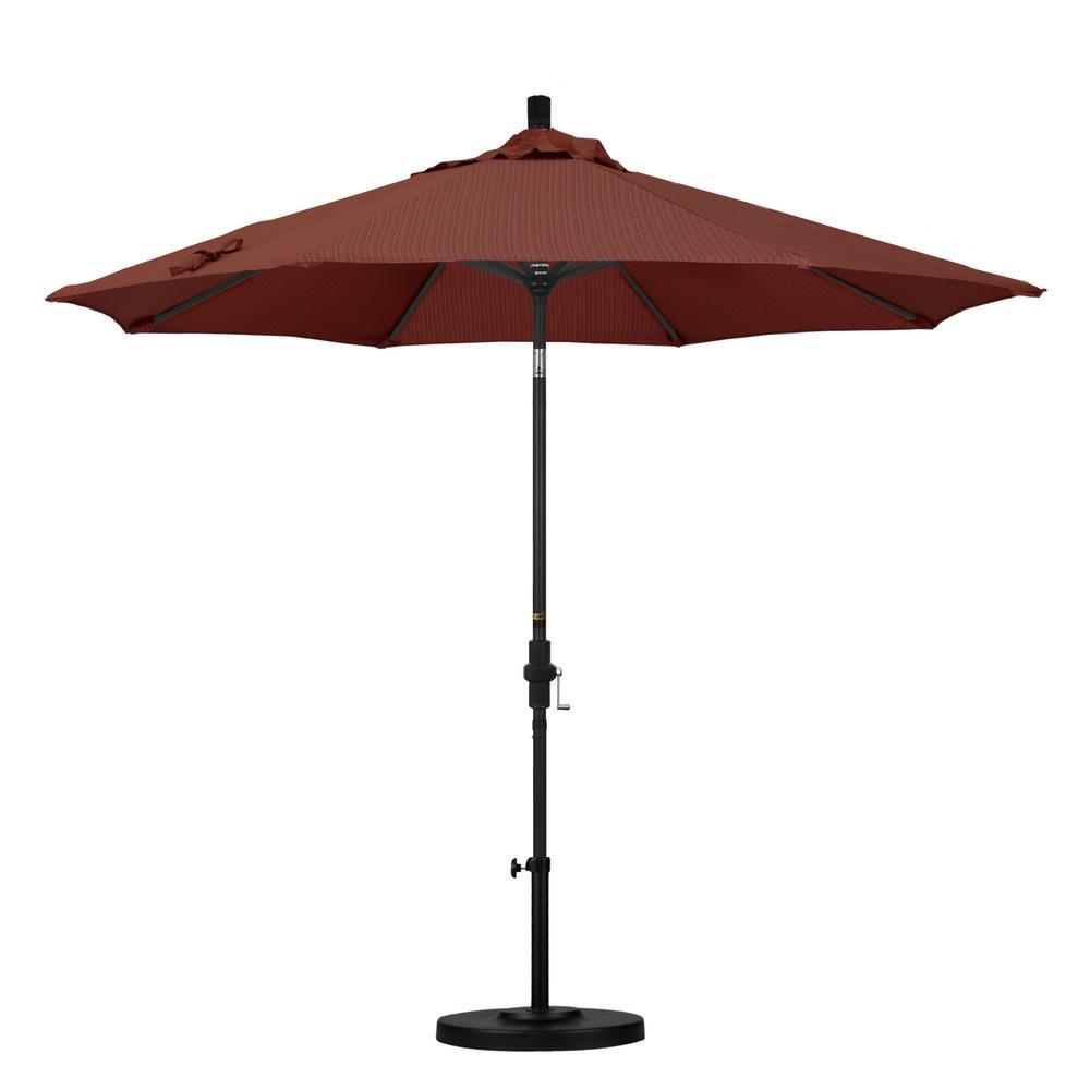 9 ft. Aluminum Collar Tilt Patio Umbrella in Terrace Adobe Olefin