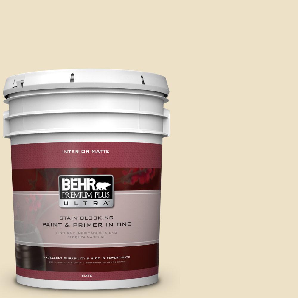 5 gal. #370E-2 Cream Silk Flat/Matte Interior Paint
