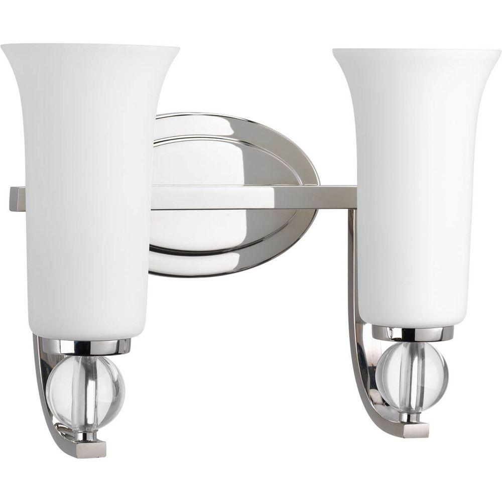 Elina Collection 2-Light Polished Nickel Vanity Light with Opal Glass Shades