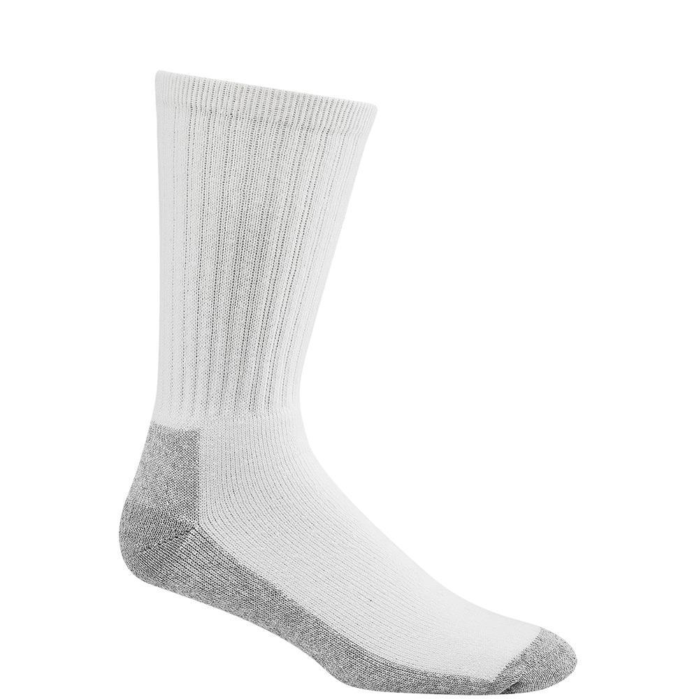 At Work Crew Cushioned Cotton No Odor Durable White/Sweatshirt Grey Work Socks (3-Pack)