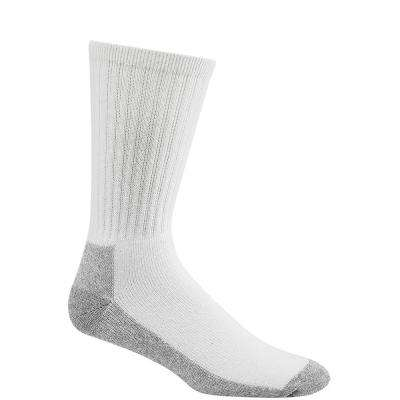 At Work Crew Cushioned Cotton No Odor Durable White/Sweatshirt Grey Work Socks (3-Pack)