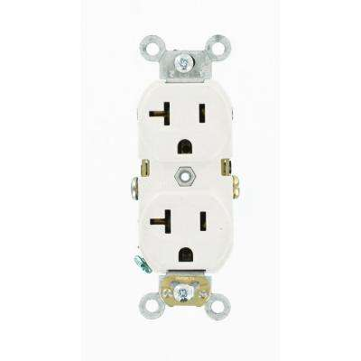 20 Amp Commercial Grade Duplex Outlet, White