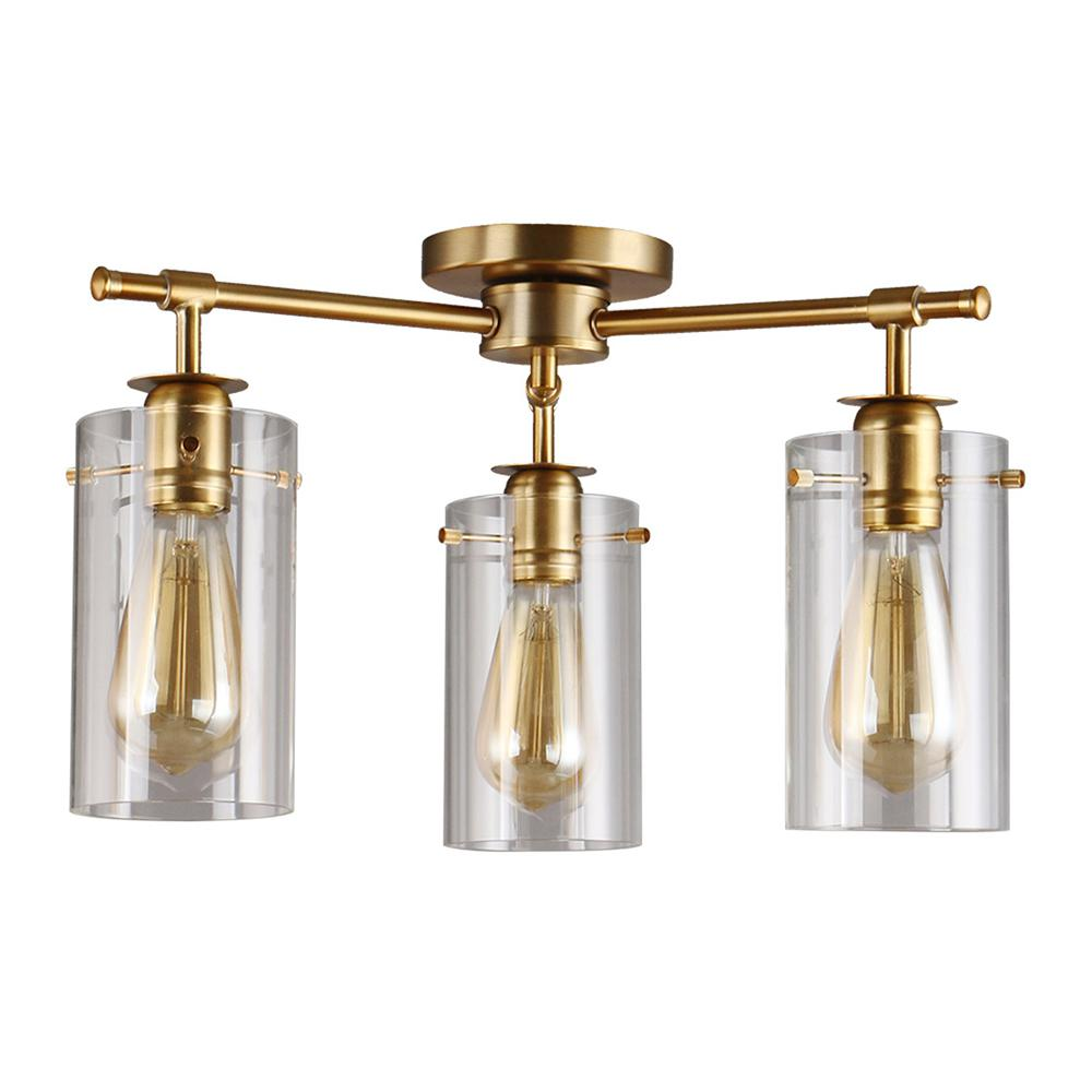 Brooklyn Collection 3-Light Antique Brass Semi-Flush mount with Clear Glass
