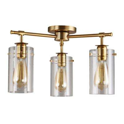 Brooklyn Collection 3-Light Antique Brass Semi-Flush mount with Clear Glass Shades
