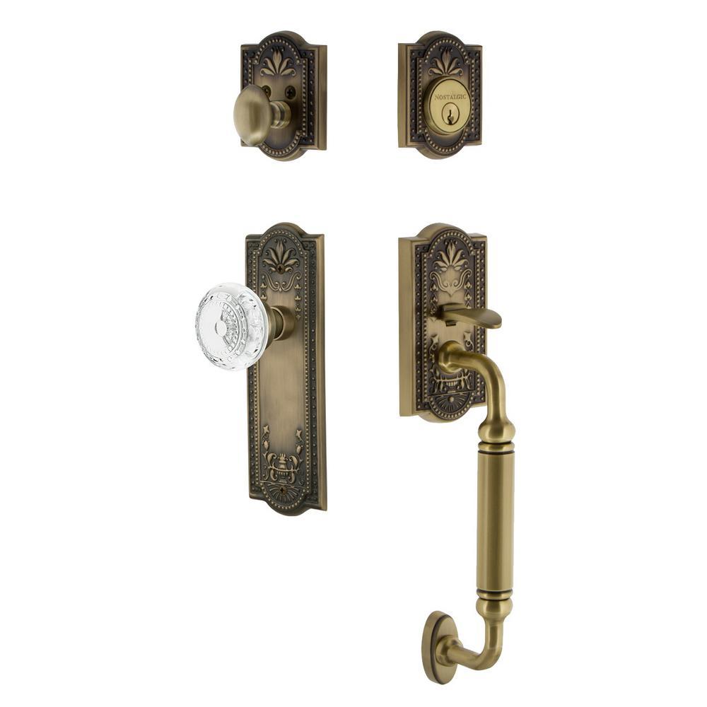 Meadows Plate 2-3/4 in. Backset Antique Brass C Grip Handleset Crystal Meadows Door Knob