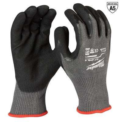 Large Gray Nitrile Dipped Cut 5 Resistant Work Gloves