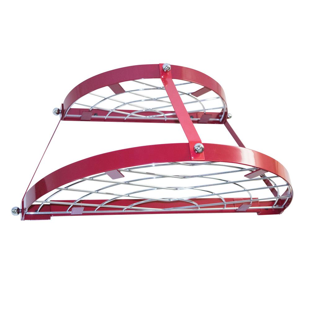 Range Kleen Double Shelf Wall Pot Rack-Red