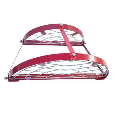 Double Shelf Wall Pot Rack-Red