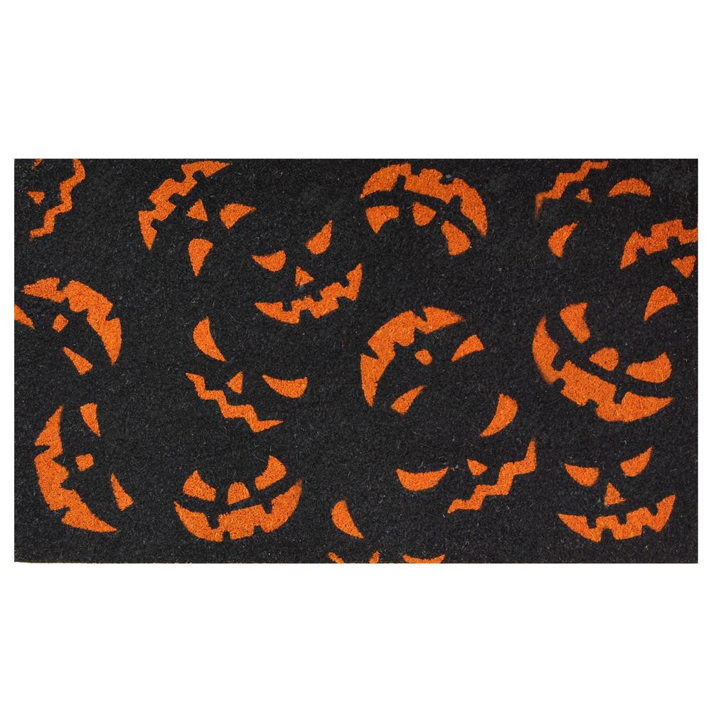 home & more scary pumpkins 17 in. x 29 in. coir door mat-101771729