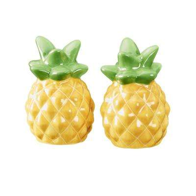 Season Pineapple 1.5 oz. Yellow Ceramic Salt and Pepper Shakers with Figural Shapes