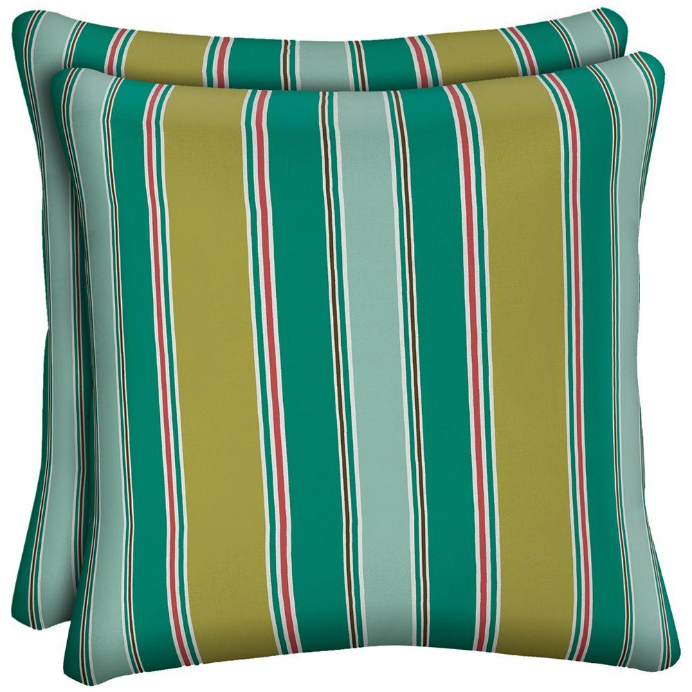 Hampton Bay Riviera Stripe Outdoor Throw Pillow (2-Pack)