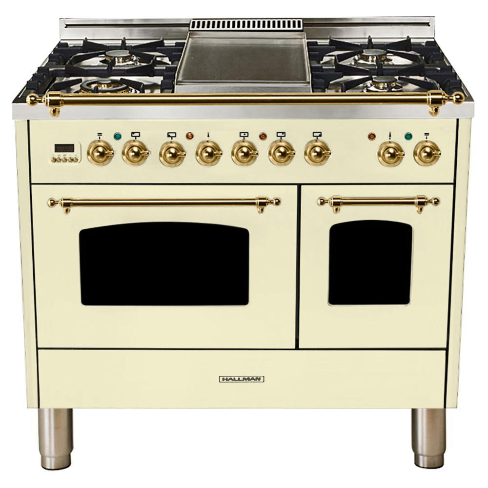 40 in. 4.0 cu. ft. Double Oven Dual Fuel Italian Range True Convection,5 Burners, LP Gas, Brass Trim/Antique White