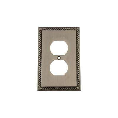 Rope Switch Plate with Outlet in Antique Pewter