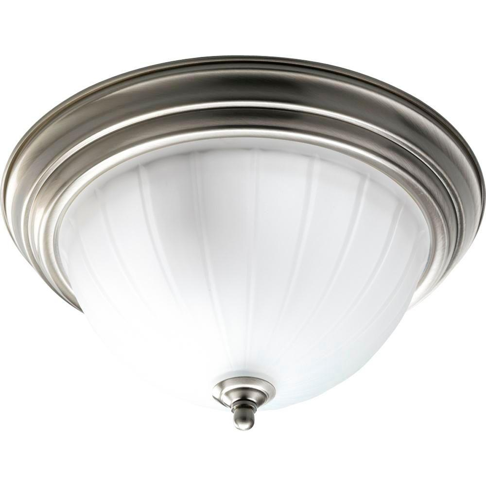 check out 32537 9d68f Progress Lighting 13.25 in. 2-Light Brushed Nickel Flush Mount with Etched  Melon Glass Bowl