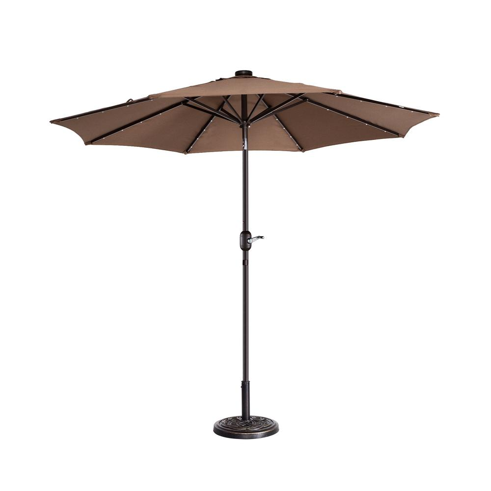 Led Patio Umbrella Reviews: Villacera 9 Ft. Steel Market Solar Tilt LED Lighted Patio